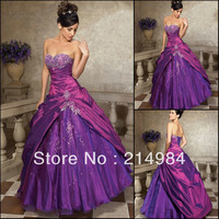 Free Shipping Hot sell Fashion A-line Embroidery Beaded Taffeta Quinceanera Dresses Prom Party Ball Gown Engagement Dress 2014