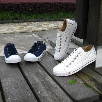 Male canvas shoes fashion male cutout solid color canvas shoes low-top canvas shoes male shoes summer