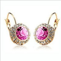 full Imitation Diamond crystal earrings Moon River fishhook earrings 2013 fashion charms earrings for women Crystals Wholesale