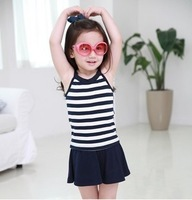 wholesale 5pcs children clothing girl's blue-white striped Soft denim skirt free shipping