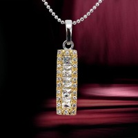 Luxury Ladies' 18K Yellow Gold & Platinum Plated 4.8 CT Brilliant Cut Grade AAA Colored Cubic Zircon Diamond Pendant (1213)