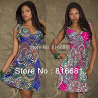 free shipping 2013 new designer flower print summer dress for women sexy v-neck tunics evening dress