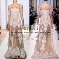 Advanced zuhair murad ruslana korshunova 2013 white nude lace perspective