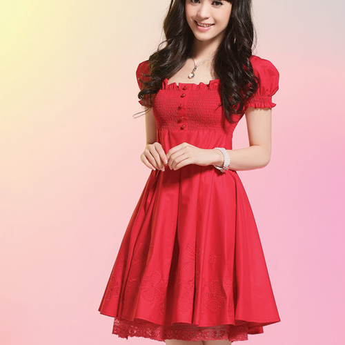 Summer short-sleeve red wedding formal dress bridal wear evening dress one-piece dress female(China (Mainland))
