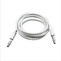 2 piecs/lot High Quality White 3.5mm To 3.5 mm Car Aux Audio Cable For iphone/ipod/ipad/mp3/mp4/phone