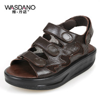 Summer breathable genuine leather platform shoes swing shoes female sandals casual wedges women's shoes  hot sale free shipping
