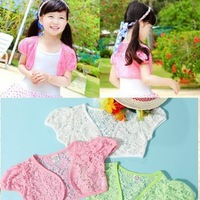 wholesale 4pcs children clothing girl's lace Short sleeve Shawl free shipping