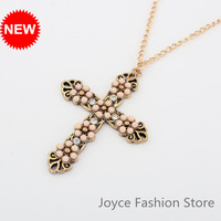 Min Order $10,2013 Statement Necklace,Religious Charms Cross with Flower Necklaces,Accessories for Woman,N04