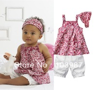 Retail 1sets free shipping top quality Baby Girls Lovely 3pcs set(Turban+Top+Shorts)100%cotton Baby Girls Summer Sleeveless Set