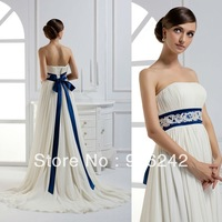 Alluring Ivory Chiffon With Blue belt Newest Bridal Wedding Dress Gown LR-W