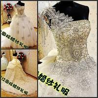 2012 sparkling sexy wedding dress bandage tube top train wedding dress bride xj756453