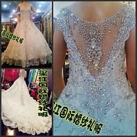 2012 sparkling sexy wedding dress bandage tube top train wedding dress bride 666