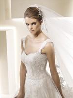 Fashion bride lace double shoulder strap tube top slim waist short trailing wedding dress luxury quality royal wedding dress