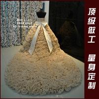 2013 luxury fashion a long trailing sparkling diamond quality beautiful wedding dress customize