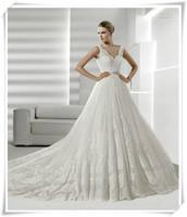 2013 lace spaghetti strap V-neck belt bead royal long trailing fashion wedding dress quality
