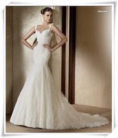 2013 lace spaghetti strap slim waist and fish tail train royal sexy royal family quality princess wedding dress