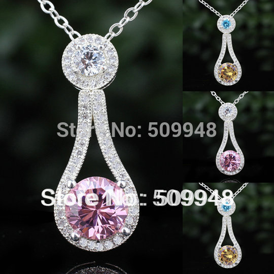 Womens Round White\Yellow Citrine\ White Topaz Black Onxy\Blue Topaz Pink CZ 925 Sterling Silver Pendant Necklace NAL P068(China (Mainland))