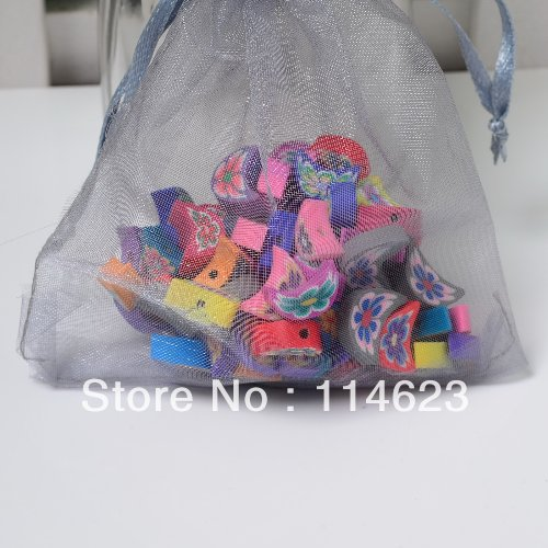 Promotion! 500pcs/lot Moon shape carved Flower Polymer Clay Beads Fashion Children DIY Jewelry Beads, sent organza bag free(China (Mainland))