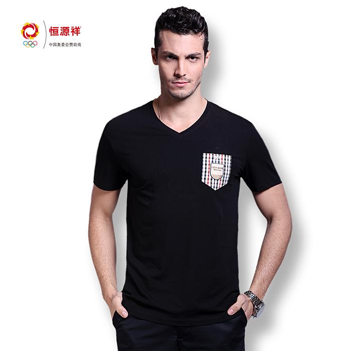 Heng YUAN XIANG 2013 summer V-neck mercerized cotton male short t-shirt men's clothing fashionable casual(China (Mainland))