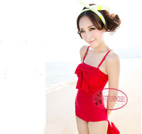 Convertible Bow Knot Ruffle Swimdress / One Piece Swimsuit Bathing Suit