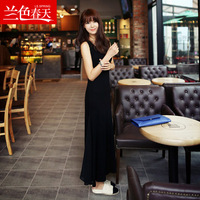 2013 Unique New Fashion arrival modal ultra long tank dress suspender skirt full dress one-piece dress