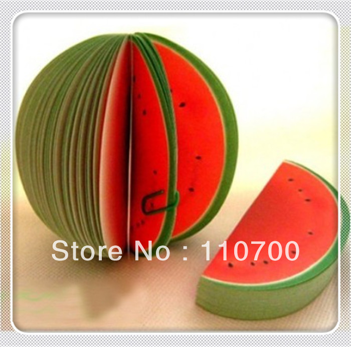 5pcs/lot CPAM Free shipping New & Cute Fruit Memo Pads Note Pads Sticky Note (Watermelon)(China (Mainland))