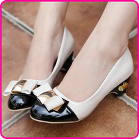 New Hot sale Ladies Classics Office Bowtie High Block Heel Pumps Shoes For Women platform Pumps wedding shoes