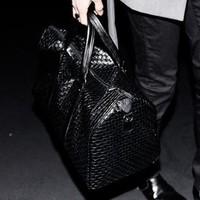 2014 Special Offer Hot Sale Freeshipping Men Pu Zipper Sequined Knitted Casual Bag Messenger Big Bags Women's Handbag Travel