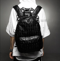 2013 men's skull bag backpack school bag rivet vintage female bags backpack