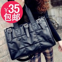 2013 women's handbag large capacity cotton-padded jacket bubble bag block plaid messenger bag female bags