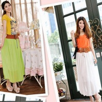 2013 Fshion Original 8 Colors Amazing Chiffon Long Skirt New Bohemian Princess pleated Skirt High Quality Drop Shipping