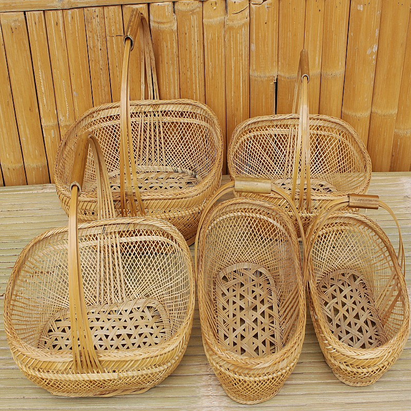 Bamboo handmade storage gift bamboo basket egg flower intoned props packaging Large(China (Mainland))