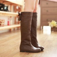 new 2014 big size pu leather black white flat women knee high boots winter autumn shoes woman fashion ladies slip on brown