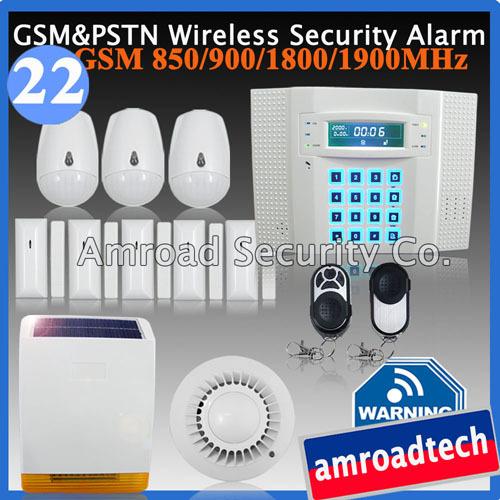 DIY Wireless Home Burglar Alarm System LCD 40 Zones GSM PSTN Dual Network w Wireless Solar Siren iHome328MG22(China (Mainland))