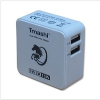 1 pcs free shipping Tmashi US plug 5V 3A Dual  USB wall charger Adapter for iphone4 for ipad for Samsung for HTC