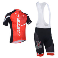 2013 New castelli Red Outdoor Sportwear Cycling Wear /Bike Bicycle Jersey With Bib Shorts Sets Suits Size :S~XXXL