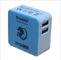 1 pcs freeshipping Tmashi US plug 5V 3A blue color  Dual USB wall charger power Adapter for iphone4 for ipad for Samsung for HTC