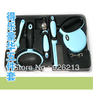 Free shipping luxury five pieces a set dog grooming kit including finger cut steel wire brush dog lead dog comb pink blue color(China (Mainland))