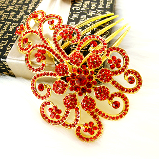 Full rhinestone flower fat plug marriage accessories white and red rhinestone the bride hair accessory wedding accessories(China (Mainland))