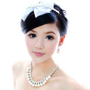 Romantic bow yarn rhinestone hair accessory aesthetic bride pearl piece set necklace set hair bands(China (Mainland))