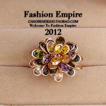 Fashion vintage personality luxury chrysanthemum crystal index finger ring jewelry c12