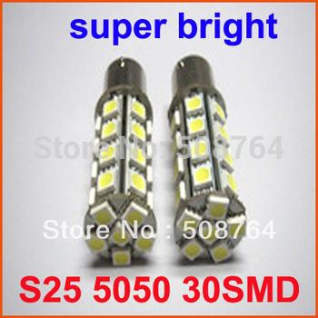 Free shipping 30 SMD 1156 1157 BAY15S CAR BRIGHT 5050 LED TAIL BRAKE BACKUP LIGHT/BULB WHITE  RED AMBER  4pcs/lot