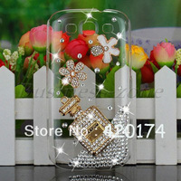 Fashion Bling Diamond Crystal Perfume Bottle Flower Case Cover For Samsung Galaxy i9300 S3 siii Crystal Plastic Clear Back