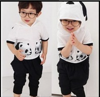 shij Wholesale boys sets summer clothing cotton panda kids clothes suits 5set/lot