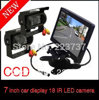 7 inch Car Monitor +2 X 18 IR LED CCD car camera sent 10M wire