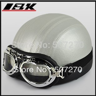 "D.10 ""IBK"" Leather Covered Open Face Cycling Casque Motorcycle Full Silver Helmet Bicycle Casco & UV Goggles Adult M , L , XL(China (Mainland))"