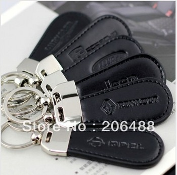 free shipping 40pcs/lot,Car LOGO Polished Chrome PU Keychain Key Chain Keyring Key Ring with  gift box