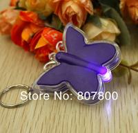 20pcs/lot Creative LED Gift Butterfly Shape Led light flashlight keychain creative practical key chain pendant