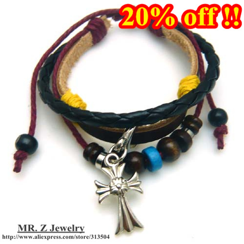20% Discounts Leather Beaded Bracelets With Cross Jesus Bracelet Christian Jewelry 24pcs/lot Free Shipping(China (Mainland))