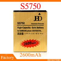 Gold Battery EB494353VU For Samsung Batteries S5750 S5570 High Capacity Bussiness Battery  2600mAh